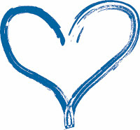 A blue heart on a white background.
