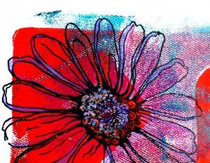 a mixed media daisy